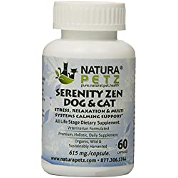Natura Petz Serenity Zen Dog and Cat Stress, Relaxation and Multi-Systems Calming Support for Pets, 60 Capsules, 615mg Per Capsule