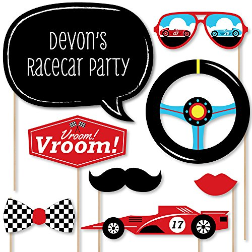Big Dot of Happiness Custom Let's Go Racing - Racecar - Photo Booth Props - Personalized Race Car Birthday Party or Baby Shower Party Supplies - 20 Selfie Props