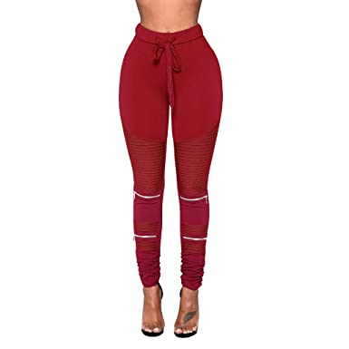 Pantalones de chándal para mujer, elásticos, de cintura alta ...