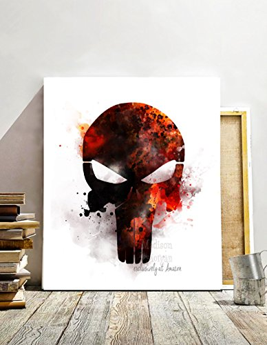 Punisher Print, Contemporary art, watercolor digital painting, Movie art, Bedroom Wall Art, Marvel movie art print, watercolor effect - Unframed