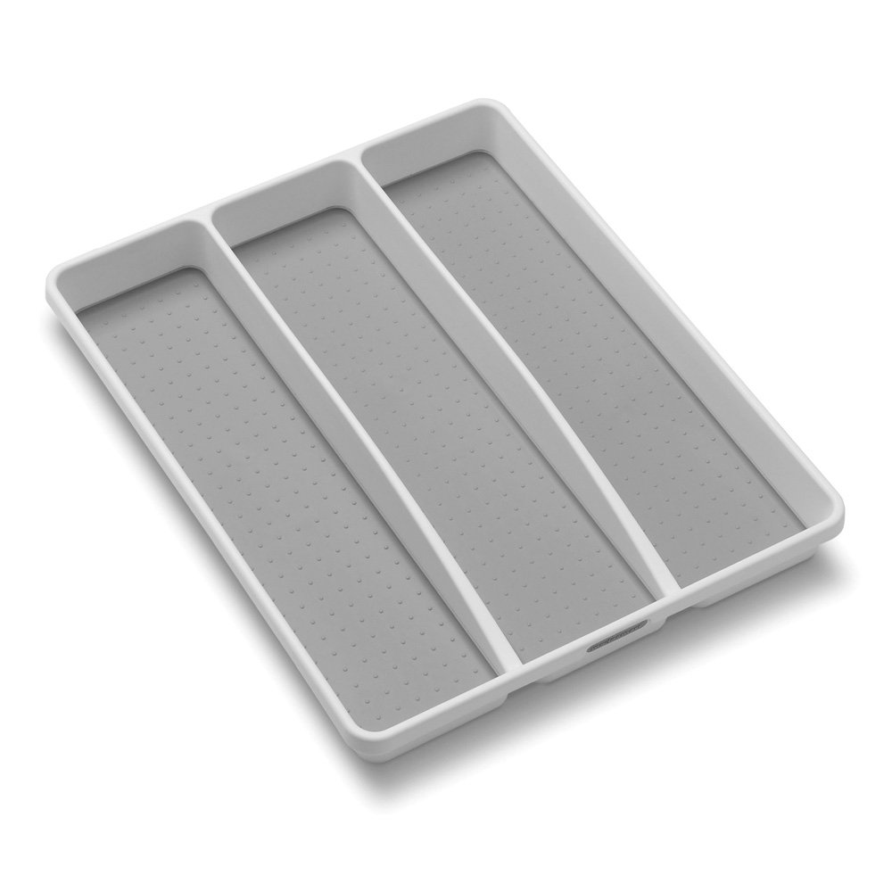 madesmart Classic Utensil Tray - White | CLASSIC COLLECTION | 3-Compartments | Kitchen Organizer |Soft-grip Lining and Non-slip Rubber Feet | Easy to Clean | BPA-Free