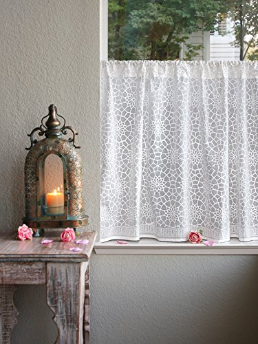Saffron Marigold Sheer White Kitchen Curtains Royal Mansour | 46 Inch Cotton Voile Similar to Lace Vintage Floral Medallion Window Valances for Bathroom, Kitchen, Bedroom 46 x 36 inches