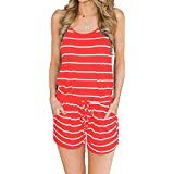 MIHOLL Women Summer Casual Spaghetti Strap Adjustable Waist Drawstring Short Jumpsuit Cami Romper Girl (A-Coral, Small)