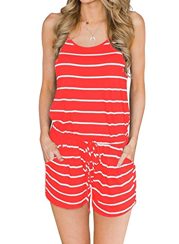 MIHOLL Women's Summer Striped Jumpsuit Casual Loose Sleeveless Jumpsuit Rompers (A-Coral, X-Large)