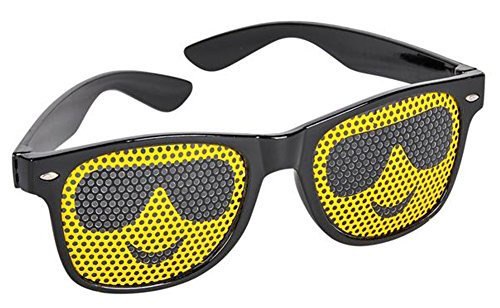 Black Framed Cool Guy Face Emoticon Emoji Novelty Glasses Costume - Emoticon Sunglasses Guy