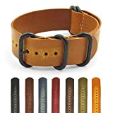 StrapsCo Distressed Vintage Style Leather Watch Band Strap w/ Black Rings