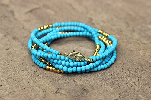 (16 Inch Fine Quality Natural TURQUOISE and Golden Pyrite Necklace Faceted Rondelle Roundel Beads Beaded Gemstone.)