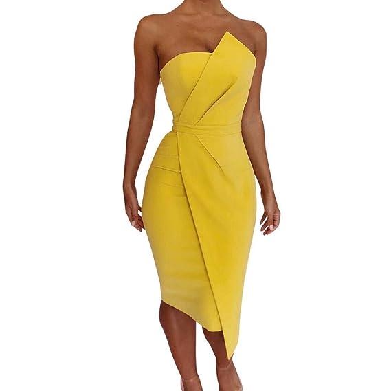 POLP Vestidos Largo ◉ω◉ Sexy Vestidos Mujer Verano Elegantes Tallas Grandes Vestidos, Fiesta Falda, Sin Manga Vestido, Camisetas Vestido, ...