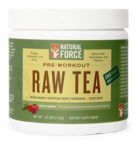 Природные силы перед тренировкой - сырье чай - Палео-дружески, приготовленные из органических ингредиентов чистый вес. .26lbs [118g]
