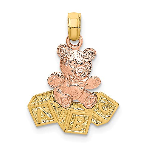 14k Two Tone Yellow Gold Teddy Bear Abc Blocks Pendant Charm Necklace Baby Fine Jewelry Gifts For Women For Her