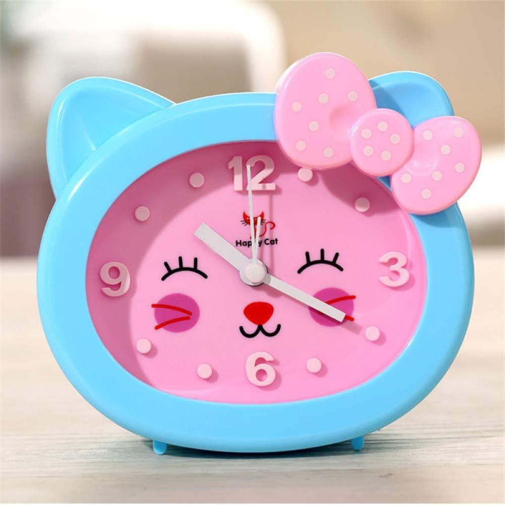 RUANRUAN Cartoon Chat R/éveil Enfants R/éveil /Étudiant Horloge De Bureau R/éveil Cr/éatif Horloge De Chevet en Plastique Ornements 115 128Mm