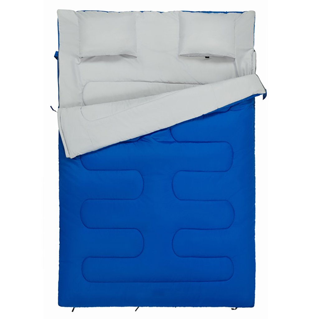 ダブルスリーピングバッグ、暖かい、3シーズン、軽量、アウトドアキャンプ、ハイキング (色 : Blue) B07FL14PQ5 Blue Blue