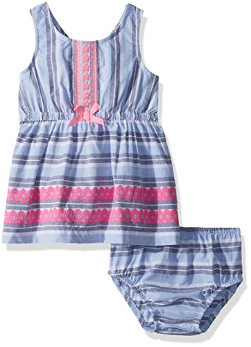 Limited Too Baby Girls Casual Dress  Fashion Striped Cross Back Chambray Blue  18M
