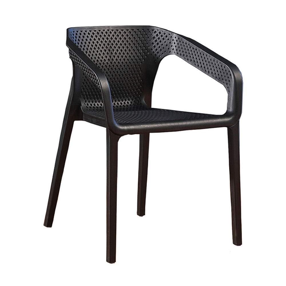 Black Bar Stools, Stackable Plastic Chair, Backrest Breathable Mesh Fashion Lounge Chair Coffee Chair Dining Chair Indoor Outdoor Seat Height 45cm for Bar Kitchen Restaurant Living Room Cafe