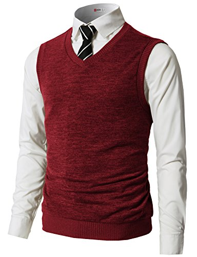 H2H Mens Slim Fit Casual V-Neck Knit Vest RED US 3XL/Asia 4XL (CMOV042)