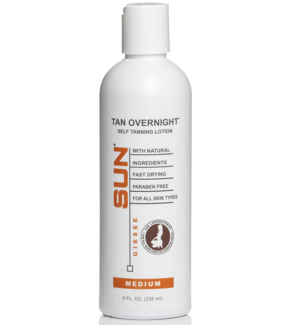 Tan Overnight Self Tanning Lotion 8 fl oz - Medium To Dark Tan for Body and Face, Organic and Natural Ingredients May Be Sun Labs Best Self Tanner. Tanning Mit With Thumb Gives Instant Drying Tan