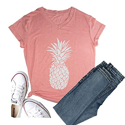 Hellopopgo Pineapple Printed Funny T Shirt Women's Summer Tops Fruits Lover Short Sleeve Graphic Tees Tops Girl (Medium, ()