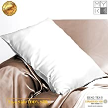 MYK - Luxurious 25 momme Silk Pillowcase, 100% Mulberry Silk on Both Sides with Deep Envelope Closure, Hypoallergenic, Hydrates Skin & Hair, Queen Size (1, Ivory White)