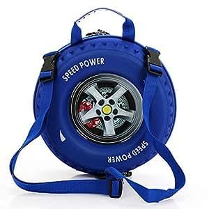 Kids Car Tire Shoulders Backpack Blue