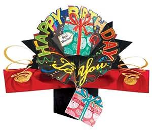 Second Nature POP033 - Tarjeta de felicitación desplegable, diseño de regalo y texto Happy birthday to you