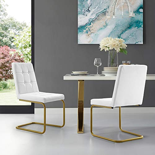 Clyde White Armless Dining Chair - Set of 2 | PU Leather | Button Tufted | Goldtone Frame | Modern & Contemporary by Inspired Home
