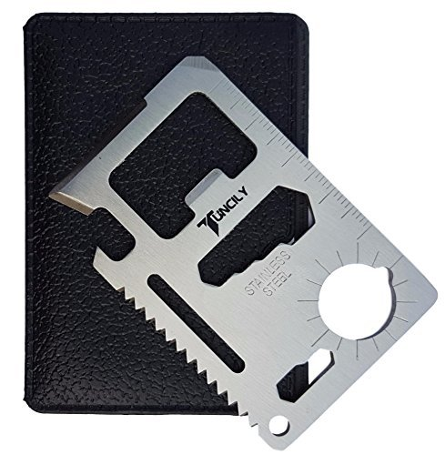 Tuncily Credit Card Survival Tool - 11 in 1 Multipurpose Beer Bottle Opener Portable Wallet Size Useful Pocket Multitool Useful Gift Idea ()