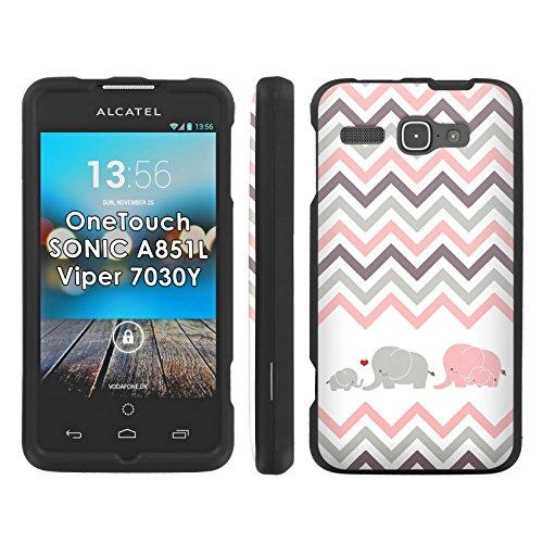 Elephant Love Chevron - Mobiflare Alcatel OneTouch Sonic 851L 7030Y Viper Slim Guard Armor Black Phone Case (One Touch Phone Case Chevron)