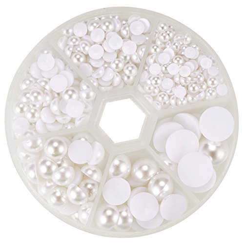 PH PandaHall 1 Box (About 690pcs) 6 Sizes White Flat Back Pearl Cabochon (4mm, 5mm,6mm, 8mm, 10mm, 12mm) -