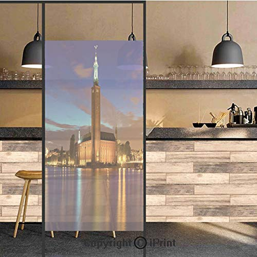 Bath Stockholm 3 Light - 3D Decorative Privacy Window Films,Stockholm Scenic Night at City Hall Old Town Enchanted Town Sweden View,No-Glue Self Static Cling Glass Film for Home Bedroom Bathroom Kitchen Office 24x71 Inch