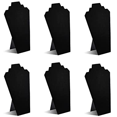 TWING Black Velvet Necklace Jewelry Display Organizer Stand 6pcs/pack, 12.5inches