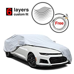 6 Layers Camaro Car Cover for Chevrolet Camaro 2010-2016, All Weather Waterproof Windproof Dustproof Scratch Proof Camaro Cover, Free Windproof Ribbon & Anti-theft Lock