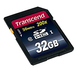 Transcend 32GB SDHC Class 10 Flash Memory Card Up to 30MB/s (TS32GSDHC10)