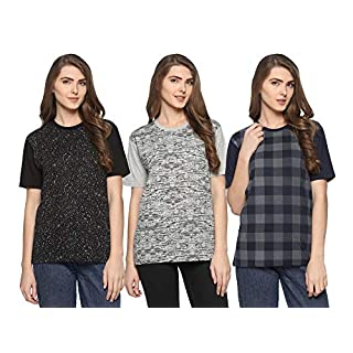 51MT9QIIW8L. SS320 SHAUN 69GAL Women Round Neck T-Shirt(Pack of 3)