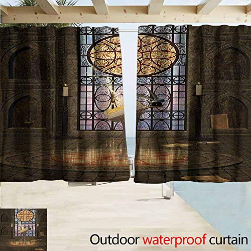 Zmacdk Gothic Outdoor Door Curtain Lectern on Pentagram Symbol Medieval Architecture Candlelight in Dark Altar for Patio/Front Porch W55 xL45 Olive Green Mustard