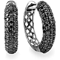 3.00 Carat (ctw) Black Rhodium Plated 10k White Gold Round Black Diamond Men Iced Out Hoop Earrings 3 CT