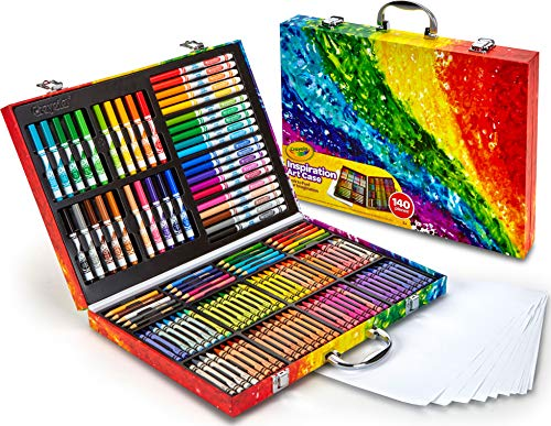 Crayola 140 Count Art Set, Rainbow Inspiration Art Case...