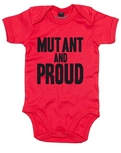 Brand88 Mutant and Proud, Baby Grow - Red/Black 3-6 - Cyclops Minecraft