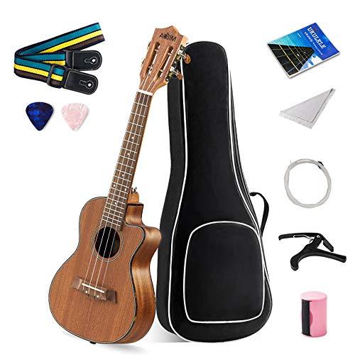 【9 in 1 Kit】 Classic Ukulele Concert 23 inch Beginners Starter Pack Kit,Sapele Uke Ukulele Bundle Stringed Musical Instrument with Accessories for Kids Adult (Gig Bag,Picks,Strings,Strap,Capo)