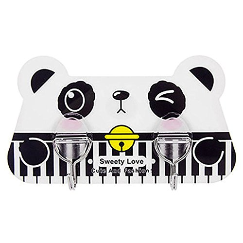MONOMONO-Cute Cat Kitten Panda Wall Hook Adhesive Hanger Rack Holder Kid Bedroom Decor (panda)