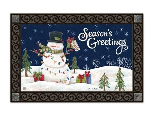 Magnet Works Snowman Lights MatMates Doormat