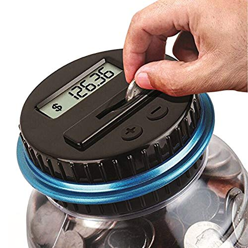 Honey Do All Digital Money Bank Large LCD Money Jar Battery Operated Coin Bank US Dollar Coins Savings Box for Office Home Kids Children Adults (Auto Counting) (Black/Blue)