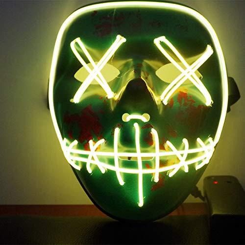 Qlan Halloween Scary - Máscara LED para Disfraz de El Wire para Fiesta de Festivales, PVC, Ice Blue, 19 * 17 * 8cm: Amazon.es: Hogar