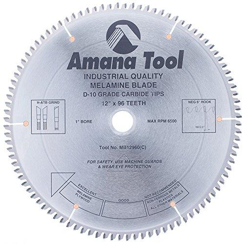 Amana Melamine Blade (Amana Tool MB12960 Carbide Tipped Double-Face Melamine 12 Inch D x 96T H-ATB, -6 Deg, 1 Inch Bore, Circular Saw Blade)