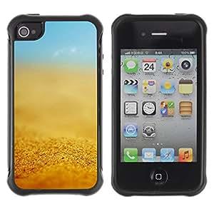 Híbridos estuche rígido plástico de protección con soporte para el Apple iPhone 4 / 4S - yellow sun summer sky blue
