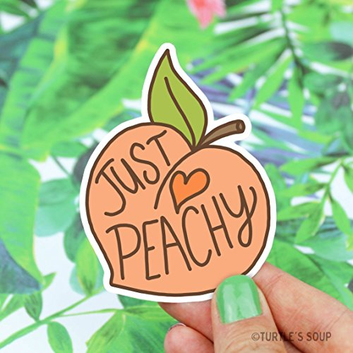 Peach Sticker, Just Peachy, Vinyl Stickers, Gift For Her, Southern Belle, Cute Stickers, Laptop Decal, Hydroflask Sticker, Gifts Under 5
