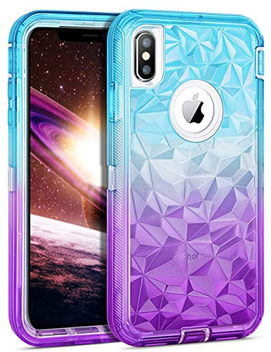 (WESADN Case for iPhone Xs Max Case Clear Protective Gradient 3D Diamond Design Women Girls Heavy Duty Shockproof Hard PC Bumper Anti Drop Soft TPU Back Cover for iPhone Xs Max 6.5 Inches, Teal Purple)