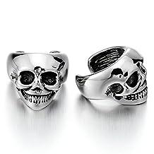2pcs Mens Womens Stainless Steel Skull Ear Cuff Ear Clip Non-Piercing Clip On Earrings