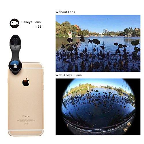 APEXEL para Phone Objetivo , 5 en 1 Objetivo Objetivo Fisheye de 198 grados + objetivo gran angular 0.4X + lente 12/24 y Lente Macro + lente CPL con abrazadera universal para iPhone 7/6/6 más Samsung