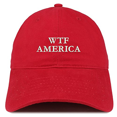 Trendy Apparel Shop WTF America Embroidered 100% Quality Brushed Cotton Baseball Cap - - Mens Shop The