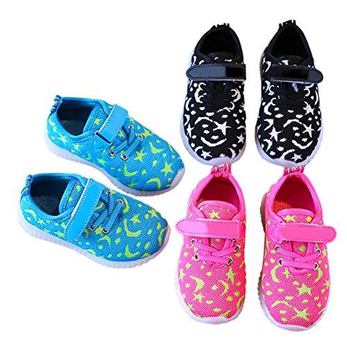 Haodasi Kinder LED leuchten Schuhe atmungsaktiv leuchtende blinkende Turnschuhe für Mädchen Jungen Schwarz